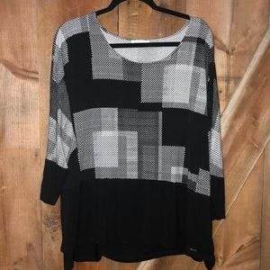 Calvin Klein plus size black geometric top